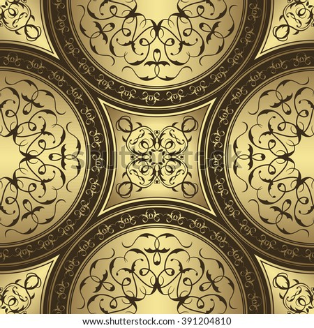 Seamless Pattern With Circle Ethnic Ornament. Abstract Gold&Brown Background. Retro Luxury Design
