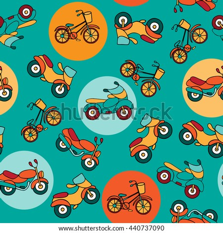 Seamless pattern with circles and motorcycles. Urban transport on turquoise background with colorful circles. - stock vector