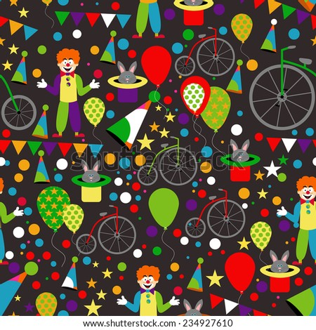 Seamless Pattern with Circus: Clowns, Balloons, Penny-farthing and Hare in Hat. Vector Background - stock vector