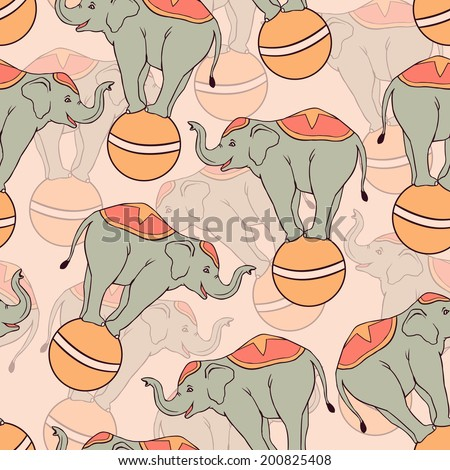 Seamless pattern with circus elephants. Vector seamless texture for wallpapers, pattern fills, web page backgrounds