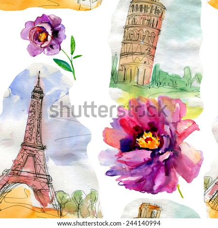seamless pattern with city backgrounds. Pisa, Paris and flowers. Vector pattern. - stock vector
