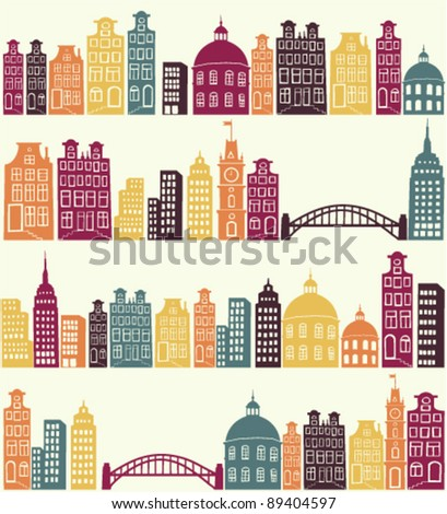 seamless pattern with city silhouette - stock vector