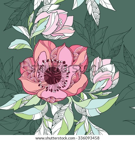 Seamless pattern with Clematis flower in pink on the dark green background - stock vector