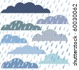 Seamless pattern with clouds and rain - stock vector