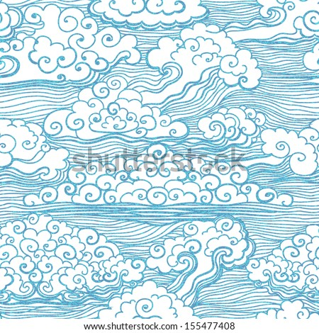 seamless waves pattern japanese style stock vector 301869329