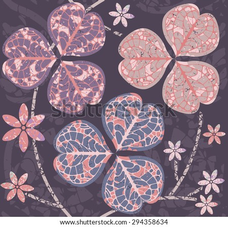 Seamless pattern with clover leaves. Template for design fabric, covers and wrapping paper. Decorative background with clover leaves and flower for St. Patrick's Day. - stock vector
