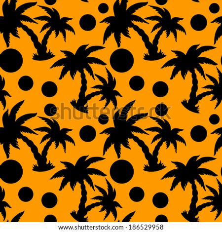 Seamless pattern with coconut palm trees and circles. Endless print silhouette texture. Retro. Vintage Style - vector