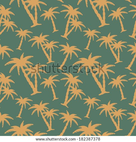 Seamless Pattern with Coconut Palm Trees. Endless Print Silhouette Texture. Forest. Hand Drawing. Retro. Vintage Style - vector  - stock vector