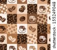 Seamless pattern with coffee beans and cups. Vector illustration. - stock photo