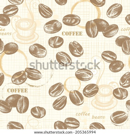 Seamless pattern with coffee beans, hand-drawn illustration in vintage style.. - stock vector