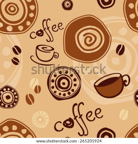 seamless pattern with coffee cup, coffee beans against a primitive ornament - stock vector