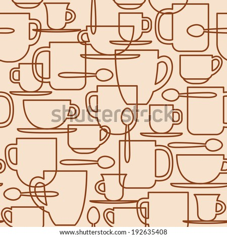 Seamless pattern with coffee cups and mugs - stock vector