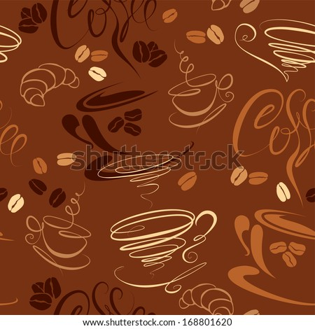Seamless pattern with coffee cups, beans, croissant, calligraphic text COFFEE. Background design for cafe or restaurant menu. - stock vector