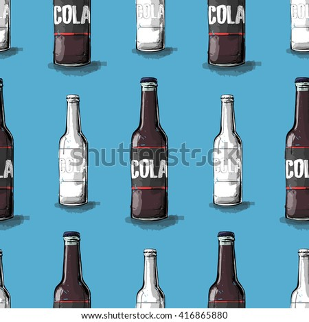 Seamless pattern with cola.