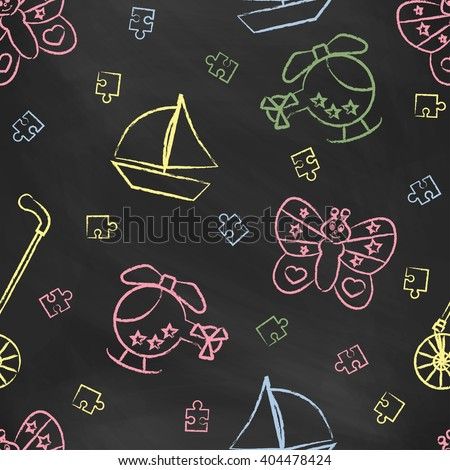 Seamless pattern with color children's chalk drawings. Hand-drawn style.  - stock vector