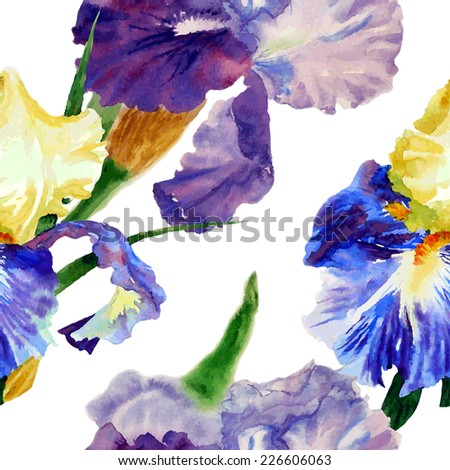 Seamless pattern  with color irises. Vector illustration