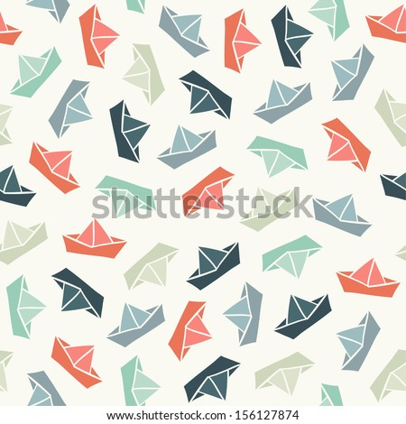 Seamless pattern with color paper boats. Vector illustration - stock vector