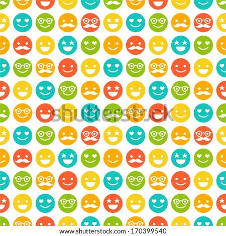 Seamless pattern with color smileys for textiles, interior design, for book design, website background. - stock vector
