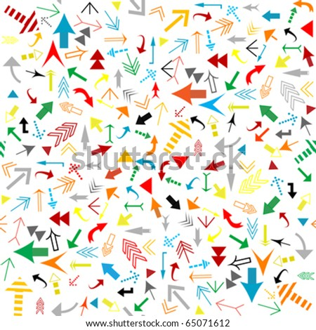 Seamless pattern with colored arrows - stock vector