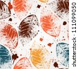 Seamless pattern with colored autumn leaves and blots. EPS 10 vector illustration - stock vector