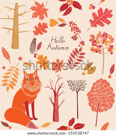 Seamless pattern with colored autumn leaves, trees and fox.Vector illustration.