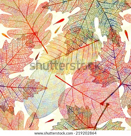Seamless pattern with colored autumn leaves. Vector, EPS 10.  - stock vector