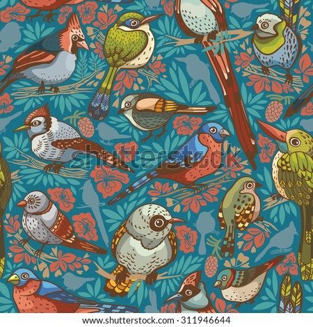 Seamless pattern with colored birds on a blue background. Vector illustration. - stock vector