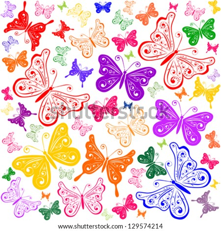 Seamless pattern with colored butterflies. Vector illustration.