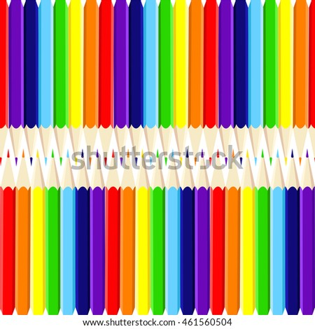 Seamless pattern with colored pencils. Children's bright pattern.