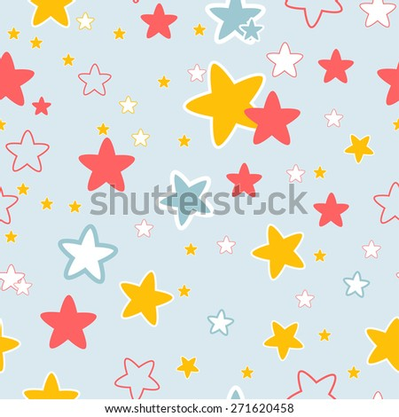 seamless  pattern with colored stars. vector image - stock vector