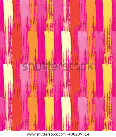 Seamless Pattern with Colored Stripes. Hand Drawn Watercolor Background. Red Rose Yellow and Orange Vertical Stripes. Vector Illustration. - stock vector
