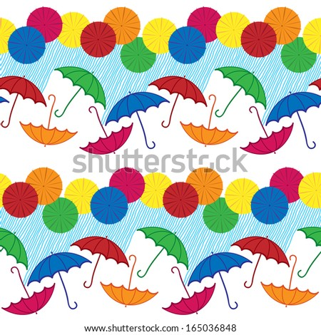 Seamless pattern with colored umbrellas and rainy weather on the white background. - stock vector