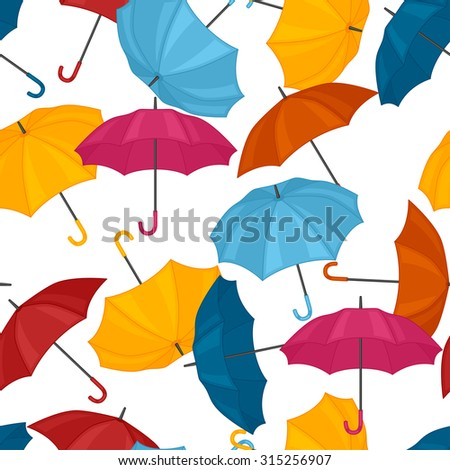 Seamless pattern with colored umbrellas for background design.