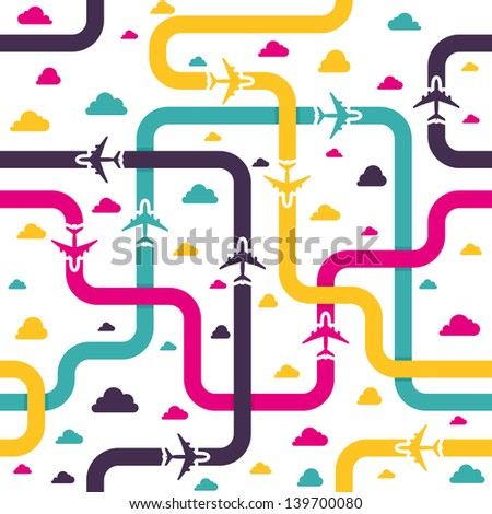 Seamless pattern with colorful airplanes. Vector illustration. - stock vector