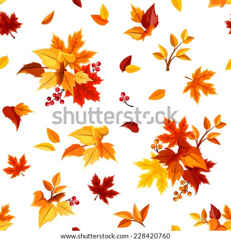 Seamless pattern with colorful autumn leaves on white. Vector illustration. - stock vector