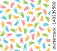 Seamless pattern with colorful baby footprints in vector - stock vector
