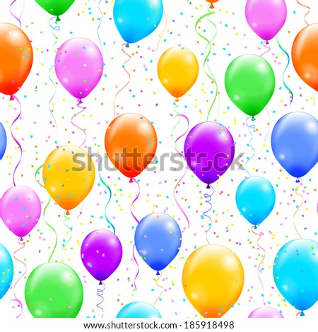 Seamless pattern with colorful balloons and confetti. Vector illustration. - stock vector