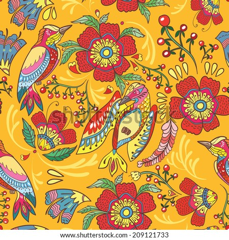Seamless pattern with colorful birds, flowers and berries.Vector  illustration.