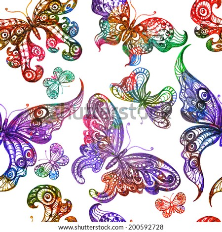 Seamless pattern with colorful butterflies. Vector illustration, EPS 10  - stock vector
