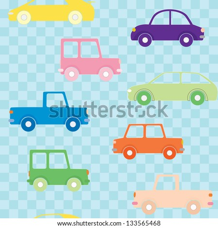 Seamless pattern with colorful cars on checkered background - stock vector
