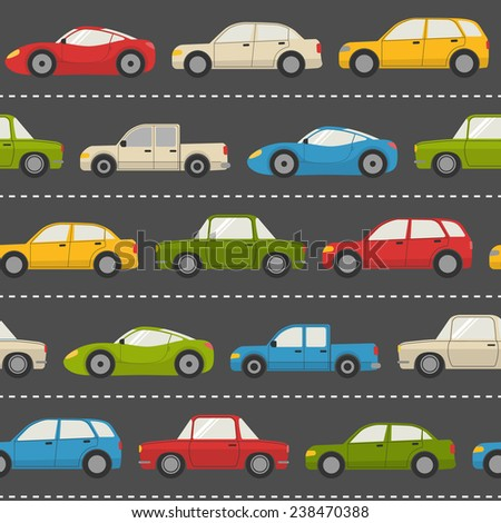 Seamless pattern with colorful cars on the road - stock vector