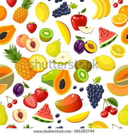 Seamless pattern with colorful cartoon fruits: strawberry, pear, apple, orange, peach, plum, banana, watermelon, pineapple, papaya, grape, cherry, kiwi, lemon, melon, mango. Vector, isolated on white. - stock vector