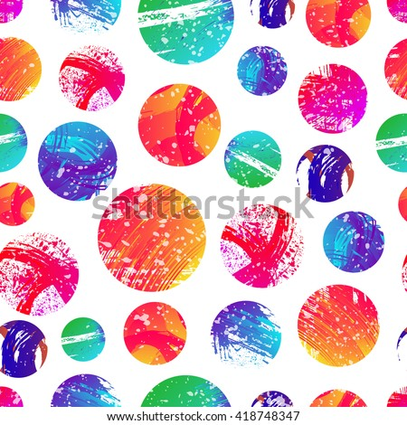Seamless pattern with colorful circles shape vector illustration. Abstract stamps. Round brush circle