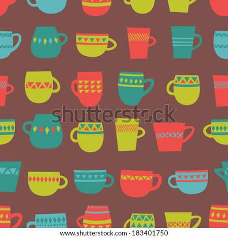 Seamless pattern with colorful cups. Vector illustration. - stock vector