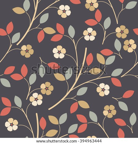 Seamless pattern with colorful decorative flowers and leaves can be used for wallpapers,  surface textures, textile, kids cloth, pattern fills, web page backgrounds and more creative designs.  - stock vector