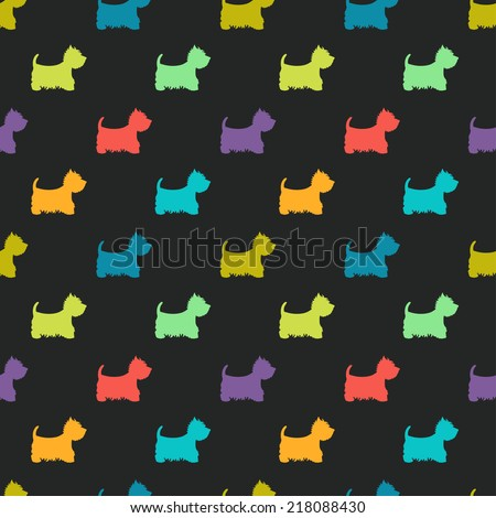 Seamless pattern with colorful dog silhouettes on black background. West highland white terrier. Animal tiling background. - stock vector
