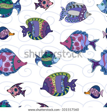 Seamless pattern with colorful doodle fish,