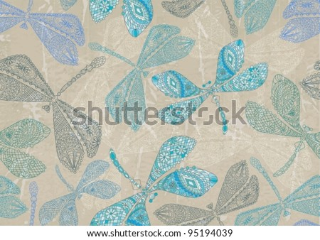 Seamless pattern with colorful dragonfly can be used for wallpaper, pattern fills, web page background, surface textures,vector illustration