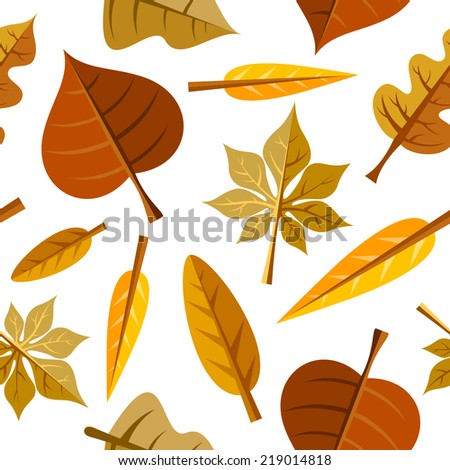 Seamless pattern with colorful fall leaves - stock vector