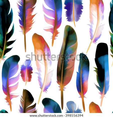 Seamless pattern with colorful feathers. Vector, EPS10. - stock vector
